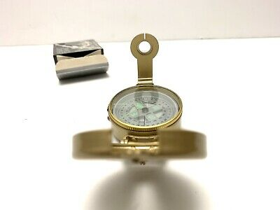 New in box brass compass lensatic military engineer army marching liquid filled