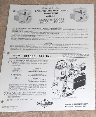 Briggs & Stratton 5HP Operating & Maintenance Instructions - 100200 to 100292