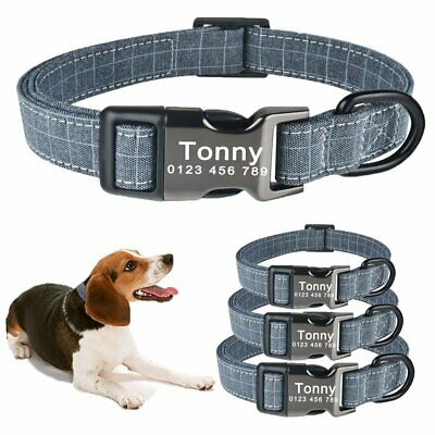 Personalized Dog Collar Custom Engraved Puppy ID Name Tag Buckle Gray Collas S-L
