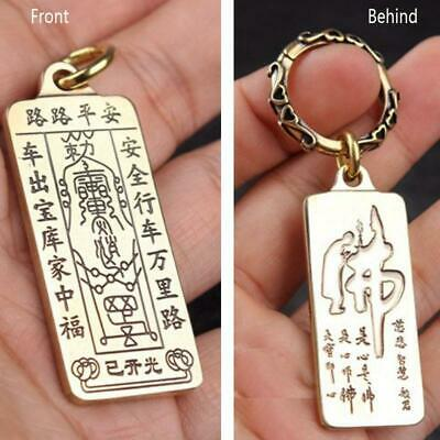 Chinese Feng Shui Brass Safety Amulets Car Key Chain Lucky Amulet Key Pendant