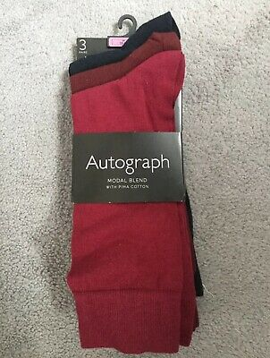 M&S Pack Of 3 Burgundy And Navy Socks -Modal Blend With Cotton - 10-12- Bnwt