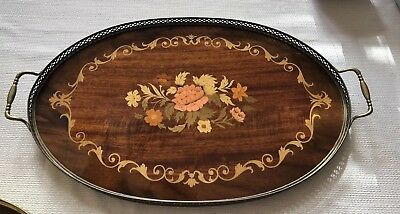 Antique Inlaid Wooden Marquetry Wood Tray Mahogany Roses Italy