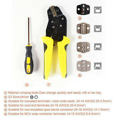 Ratchet Ferrule Crimper Plier Crimping Tool Electrical Cable Wire Terminals Kit