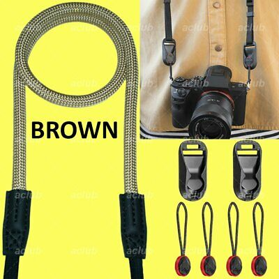 Climbing Rope Camera Neck Shoulder Sling Strap With Anchor Links - BROWN