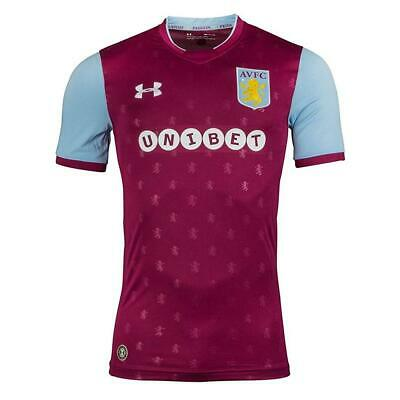 Aston Villa FC Football Shirt Mens SS Home Unibet Under Armour 2017 2018