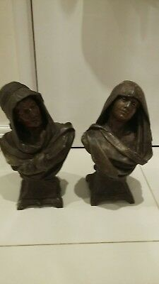 antique bronze spelter  busts by c h masse
