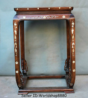 "28.4"" Antique Old China Huanghuali Wood Inlay Shell Dynasty Flower stand Shelf"