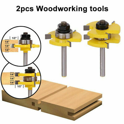 2Pcs 8mm Shank 3 Teeth Tongue Groove Router Bit Milling Cutter Wood Tool Set