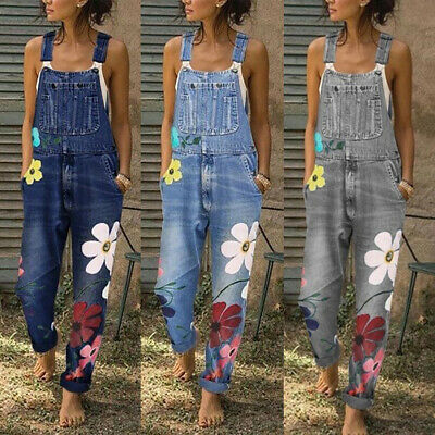 Women Ladies Denim Dungarees Overalls Casual Loose Flower Jeans Jumpsuit Rompers