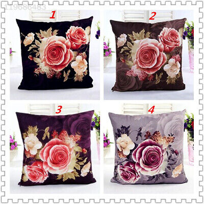 Peony Designed Flower Flax Home Decor Vintage Throw Cushion Cover Pillow Case