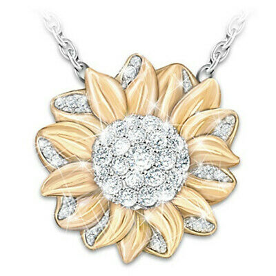 Women Golden Sunflower Inlaid Crystal Dangle Necklace You Are My Sunshine Chain