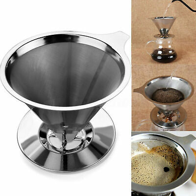 Pour Over Coffee Maker Filter Stainless Steel Coffee Dripper Stand Cone
