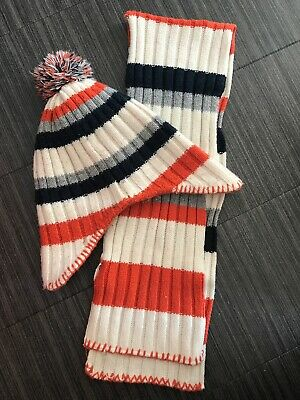 Italian 12- 18 Months Orange/Blue/White Hat And Scarf