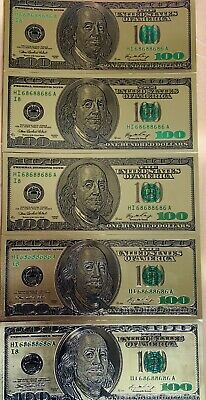 One US$100 Banknotes USD Rare Silver Foil New Edition Paper Money Dollar-A 1