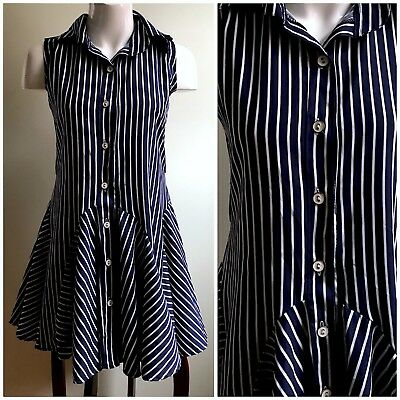 Stone Flower Blue White Striped Mini Fit & Flare Flounce Collared Dress Sz Small