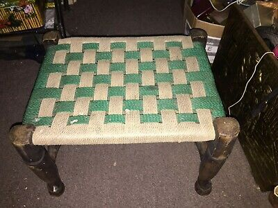 Vintage Wood Stool Woven Strap Seat Arts & Crafts Chair Antique