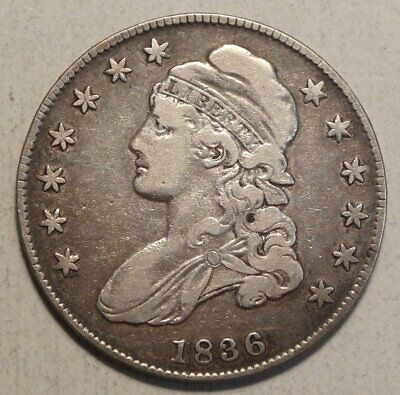 1836 Capped Bust Half Dollar, Scarce Variety, Bargain Price,   0613-33