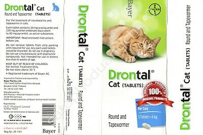 Drontal Cat Dewormer Bayer All worms Round & Tap Worm tablet EXP 2/2021 or later