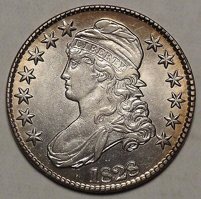 1828 Bust Half Dollar, Flat Base 2, Sharp, High Grade Type Coin, 1207-03
