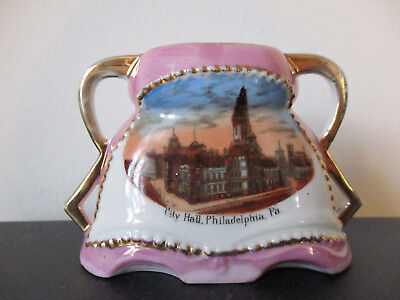 Circa 1915 Souvenir Porcelain Vase City Hall Philadelphia Pennsylvania #BCB