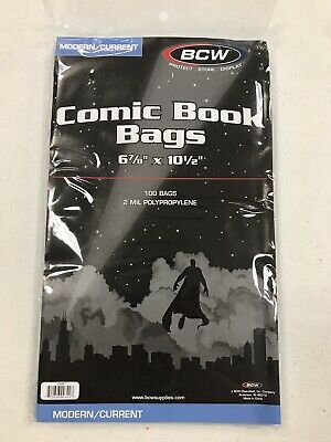Comic Book Bags Sleeves  BCW Lot Of 100 Current/Modern