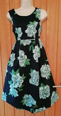 RED HERRING SIZE 8 Beautiful Ladies Navy Floral Maternity Dress Cotton Elastane