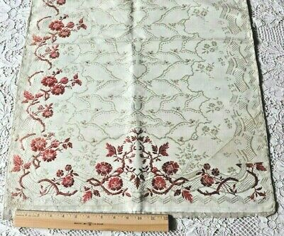 "Rare French Antique 18thC Brocaded Silk Fabric~L-31"" X W-21 1/4""~Collectors"