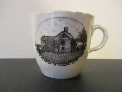 Circa 1910 Souvenir Mustache Cup Allerton Garrison Kingston Massachusetts *