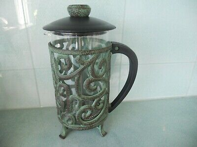 Beautiful Unusual Glass And Verdigris Metal French Press Coffee Maker Cafetiere