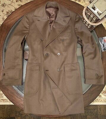 Paul Stuart Phineas Cole Sz Med Custom Fit Top Coat 100% Cashmere Made In Italy