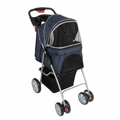 Sporty Pet Stroller Buggy Pram Transport for Small Dogs Up To 15kg Navy/Grey