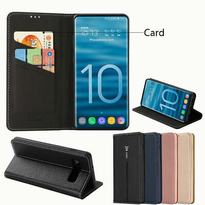 Plain Business Flip Stand Card Shockproof PU Leather Phone Case For Samsung Lot