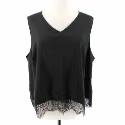 The Limited Collection Womens Top Black Sleeveless Lace Hem Plus 1X New