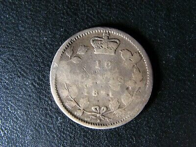 10 cents 1871H Canada small silver coin Queen Victoria c ¢ dime G-4 Damaged