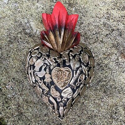 """HEARTS - Mexican Milagro Heart - Hand Crafted Wood Milagros Folk 6.75"""" - #2"""