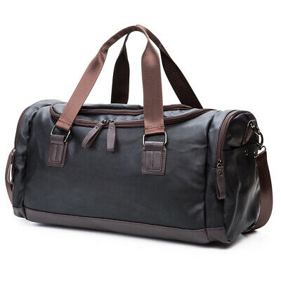 Large Black Leather Men Luggage Travel Shoulder Duffle Bags Tote Gym Bag Daypack