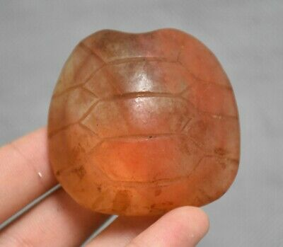 5CM Ancient Hongshan Culture Old Red Crystal Carved turtle animal pendant