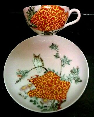 Antique Japanese Eggshell Porcelain Signed Hand Painted Cup And Saucer A/F