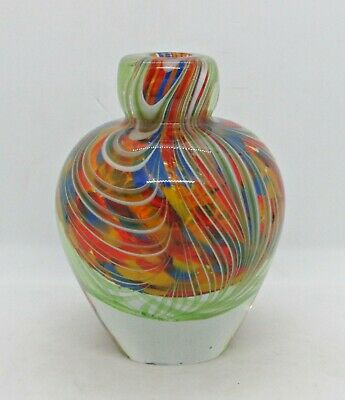 Heavy Multicolored Vase Sculpture - Clear Glass w/ Red Center + Blue/Red/Yellow