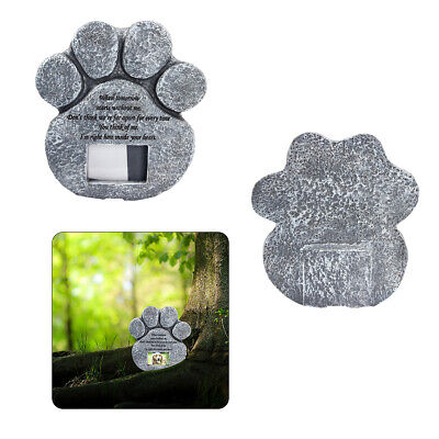 AU  Paw Print Stone Dog Cat Memorial Grave Stone with Photo Frame
