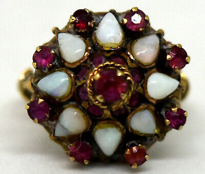 Antique 9K Solid Gold, Natural Ruby and Opal Harem Ring Size 4 3/4