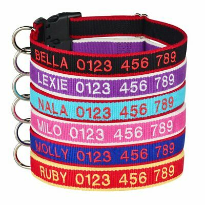 Personalized Dog Collar Embroidered Adjustable Nylon Puppy ID Name Phone Number
