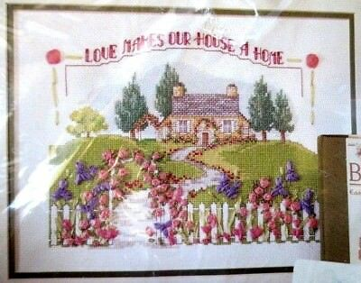 BUCILLA cross stitch ribbon embroidery kit -love makes house a home