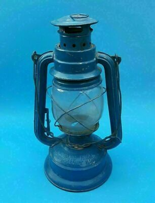 "Vintage Chinese KWANG HWA 12"" BLUE Paraffin Lantern Lamp w/ Handle"