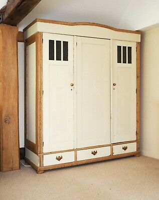 Large Rustic Victorian Antique Pine Wardrobe English Country Vintage Farmhouse