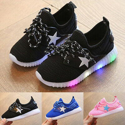 LED Kids Children Boys Girls Light Up Sneakers Walking Flat Trainer Shoes Size