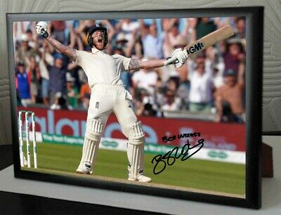 Ben Stokes Ashes Headingley 2019 Framed Canvas Tribute Print Signed Great Gift