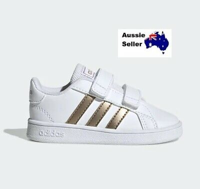 NEW! Adidas Infant Toddler Grand Court Casual Shoes White/Metallic Copper EF0116