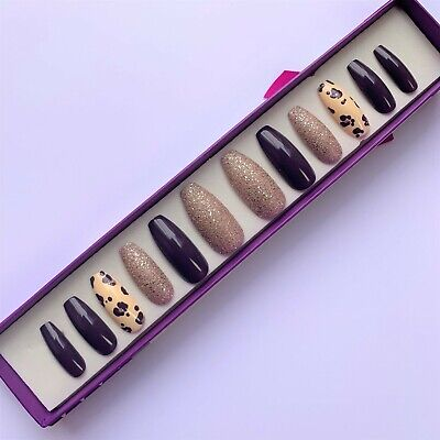 Hand Painted False Nails XL Coffin (or any shape) Plum Purple Leopard Champagne