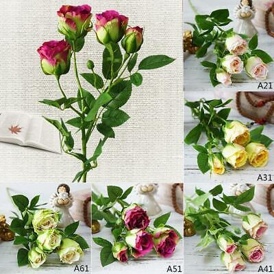 ARTIFICIAL SILK FLOWERS ROSE FLOWER BUNCH 6COLOUR For Wedding Home Grave Outdoor